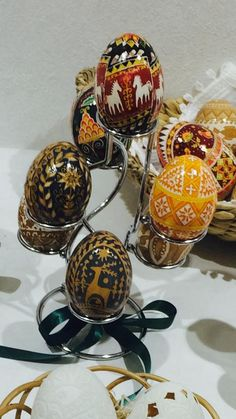 Pictures of many different pysanky from 'The Tokyo Pysanky Exhibition' 22 different artists participated.
