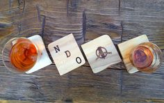 Personalized North American Cherry wood whiskey coasters <3 Valentine's day?