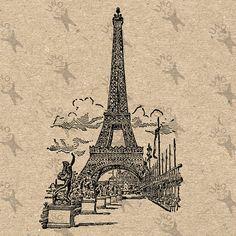 Vintage Paris Eiffel Tower  La Tour Eiffel  Instant от UnoPrint