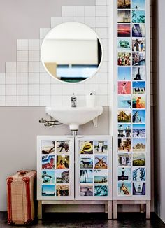 Personalize your bathroom with memories and to add pops of color! Get this DIY look of a real life photo exhibition by printing out your favorite photos and adding it to LILLANGEN bathroom cabinets.