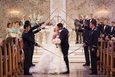 Bride and Groom, Military Wedding Saber Arch