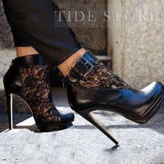 Sexy Black Suede Lace Cut-Outs HighPumps: tidestore.com