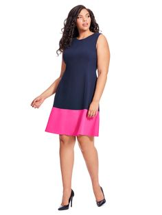 Color Block Dress In Navy & Pink @elizajny Available in sizes 10/12 and 14W-24W