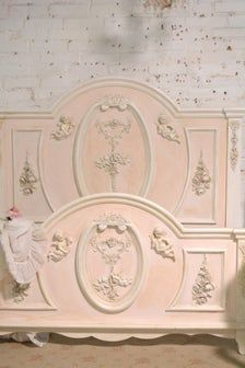 Painted Cottage Shabby Farmhouse Romantic Angel / Cherub Bed   Etsy Painted Cottage, Shabby Cottage, Cottage Chic, Pastel Kitchen Decor, Unicorn Bedroom, Touch Up Paint, Cottage Furniture, Shabby Chic Bedrooms, Headboards For Beds