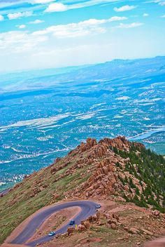 The road up Pike's Peak, Colorado looking out over Colorado Springs below.