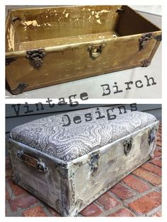 A simple wash of Vintage White helped transform this old trunk into a chic, functional new ottoman! #cececaldwells #vintagewhite www.vintagebirchdesigns.com @ginawilkie