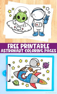 Free Printable Astronaut Coloring Pages #freebies #freeprintable #coloringpages #coloring #kidsactivities #astronaut #outerspace #space #printables #kidsprintables #coloringbook Creative Play, Creative Crafts, Fun Crafts, Crafts For Kids, Space Printables, Free Printables, Color Activities, Activities For Kids, Coloring Pages