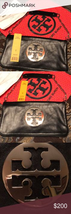 Tory Burch Reva Clutch Excellent used condition. Only carried a few times! Love this bag but I have it in gold as well and don't need two! The silver emblem is in good condition. Comes with dust bag and tag! Was purchased by me at Nordstrom. Would definitely trade for another Tory or brand name bag! Tory Burch Bags Shoulder Bags