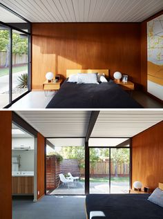 In this mid-century modern bedroom, the white wood ceiling runs from the interior through to the exterior of the house, while sliding glass doors provide the bedroom with access to a small patio. #Bedroom #BedroomDesign #WoodWall