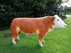 Life Size Polyresin Hereford Bull
