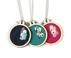 Louise Dawson Design A sneak peek at some new Harris Tweed mini embroidery hoop necklaces