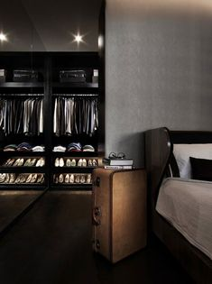 A Gentleman's closet. We like that suitcase side table. ...now go forth and share that BOW  DIAMOND style ppl! Lol ;-) xx