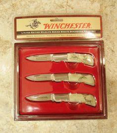 2006 WINCHESTER LIMITED EDITION WILDLIFE SERIES ERSATZ SCRIMSHAW KNIFE SET NIB