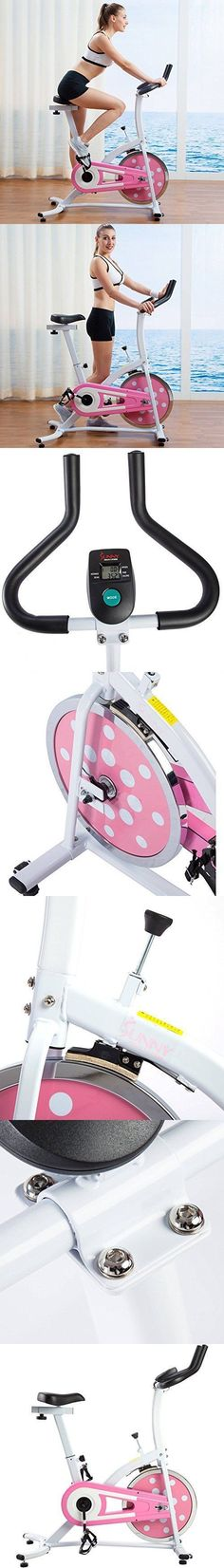 Health and Fitness Bicycle Pink Indoor Cycling Stationary Upright Exercise Bike Cardio Workout Training Home Gym Equipment Adjustable Seat Height Chain Drive Mechanism Heavy Duty Crank and Steel Frame #cardiobikingworkout #indoorcycling #indoorbikingworkout