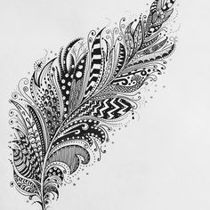 'Zentangle feather' by Ulrikaart Feather Sketch, Feather Drawing, Feather Art, Feather Tattoos, Drawings Of Feather, Tatoos, Dibujos Zentangle Art, Zentangle Drawings, Zentangles