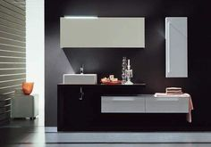 Incredible Bathroom Vanity Cabinets with Dark Black Wall Paint Color and Cool Washbasin and White Countertop also Wall Mounted Faucet Design Idea and White Drawers