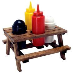 Gewürzanrichte Picknicktisch - dieser Mini-Holz-Picknicktisch hält Deine Lieblings-Gewürze stilecht griffbereit. Perfekt für Grillabende, Partys, das Picknick oder den täglichen Gebrauch.
