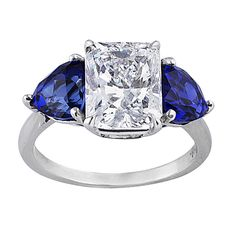 3ct Radiant Diamond Sapphire Ring, angle