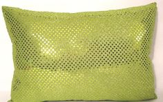 lime green metallic  sequin pillow cover 12 X 17 by Alethias