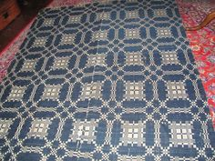 """AAFA Early 1800's Linsey Woolsey Coverlet Navy Creamy White 2 Panel 68""""x 94"""" 