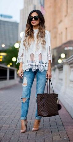 Lace top with ripped jeans
