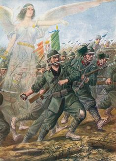 Battle of Piave River, 1918.  Illustration for Storia d'Italia by Paolo Giudici (Nerbini, 1933).