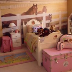Boy was our horse lover girl surprised to see her new bedroom! I know, super cool (if you love horses).