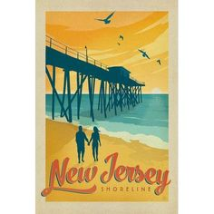 "East Urban Home 'New Jersey Shoreline' by Anderson Design Group Vintage Advertisement on Wrapped Canvas Size: 40"" H x 26"" W x 1.5"" D"