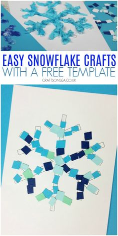 Four super simple snowflake crafts for kids with ideas to help support fine motor skills and scissor skills plus a free template to use. Easy snowflake crafts for kids free template Winter Crafts For Toddlers, Christmas Crafts For Kids, Toddler Crafts, Preschool Winter, Christmas Activities, Crafts For Children, Simple Crafts For Kids, Holiday Crafts, Simple Snowflake