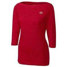 San Francisco 49ers Cutter & Buck Women's Holly Park Tonal Stripe 3/4-Sleeve Knit T-Shirt - Scarlet - $64.99