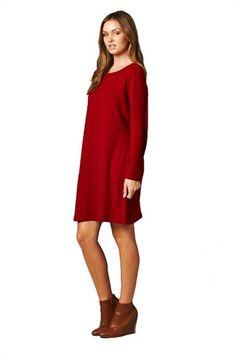 Cozy Up Angora Feel Oversized Tunic Dress - Red