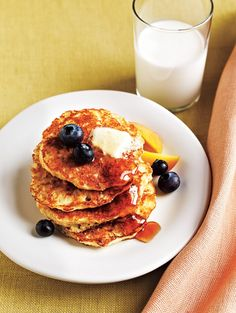 Each stack of four oatmeal pancakes is under 300 calories and provides you with 9 grams of protein and 3 grams of fiber.