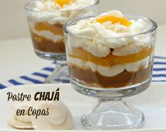 .: POSTRE CHAJÁ EN COPAS Mini Desserts, No Bake Desserts, Easy Desserts, Delicious Desserts, Yummy Food, Spanish Dishes, Pretty Cakes, Trifle, Desert Recipes