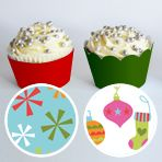 Christmas Cupcake Wrapper #Holiday #Party #Ideas #DIY #Printable #decorations #crafts