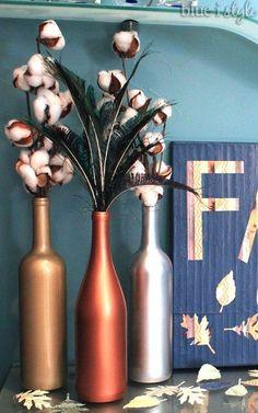 metallic wine bottle vases, crafts, repurposing upcycling, seasonal holiday decor
