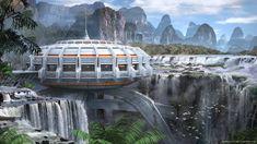 Tropical Outpost by Pedro Veloso Fantasy City, Fantasy Places, Sci Fi Fantasy, Futuristic City, Futuristic Architecture, Amazing Architecture, Landscape Concept, Fantasy Landscape, Sci Fi Stadt