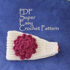 CROCHET PATTERN - Super Easy Crochet Headband With Flower PDF Aran Weight. $4.50, via Etsy.