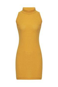 Yellow Sleeveless Crew Neck Knitted Mini Dress - US$15.95 -YOINS