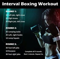 Interval Boxing Workout You've got fitness goals, now fight for them! This f… Interval Boxing Workout You've got fitness goals, now fight for them! This full body interval boxing workout is everything you need to build strength, power, and endurance. Kickboxing Workout, Interval Workouts, Boxing Workout Routine, Workout Plans, Boxercise Workout, Kickboxing Women, Lifting Workouts, Workout Quotes, Body Workouts