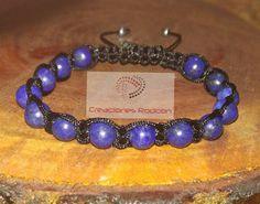 MENS ADJUSTABLE BRACELET Black Cord and Lapis Lazuli by RodconPR
