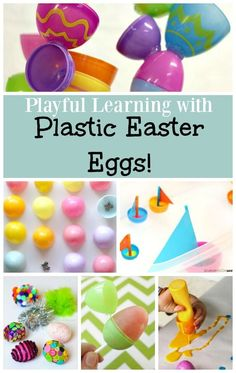 Preschool Easter Activities with Plastic Eggs! - fun way to use plastic eggs around Easter for learning! Easter Activities For Preschool, Preschool Arts And Crafts, Learning Toys For Toddlers, Creative Activities For Kids, Spring Activities, Easter Crafts For Kids, Learning Activities, Easter Ideas, Creative Play