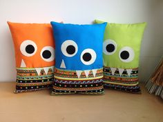 2016 - 3 Monster Cushion Softees. Designed and made by Jan after an idea from Pinterest.