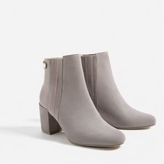 Image 4 of ELASTIC SPLIT-SUEDE ANKLE BOOTS from Zara