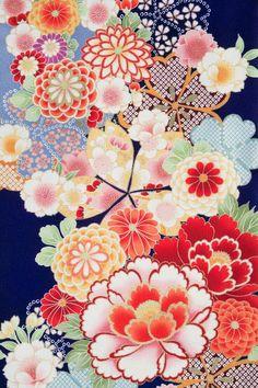 Floral pattern of Japanese kimono. Japanese Textiles, Japanese Patterns, Japanese Prints, Japanese Design, Textile Patterns, Flower Patterns, Print Patterns, Pattern Print, Japanese Paper