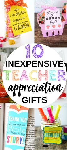 Are you looking for inexpensive teacher appreciation gift ideas? I've rounded up 10 thoughtful, inexpensive teacher appreciation gift ideas to show your child's classroom teacher… Cheap Teacher Appreciation Gifts, Employee Appreciation, Teacher Gifts Cheap, Teacher Gift Diy, Teacher Thank You Gifts, Preschool Teacher Appreciation, Teacher Appreciation Breakfast, Teacher Assistant Gifts, Principal Appreciation