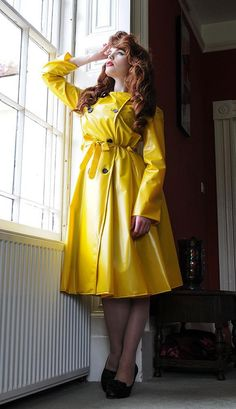 Vinyl Raincoat, Pvc Raincoat, Victory Rolls, Yellow Coat, Yellow Raincoat, 1950s Style, 1950s Fashion, Vintage Fashion, Vintage Style