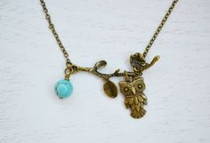 Owl Necklace Owl Jewelry NecklaceOwl Charm Necklace by KimFong, $16.00