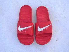 Custom Painted Nike Benassi JDI Slide Dripping by UnleashedKustoms
