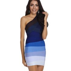 fa8bcb88ccd Cheap Wholesale HL One Shoulder Blue Ombre Bandage Dress 2018 New Arrivals  Sexy Bodycon Cocktail Rayon Mini Party Dresses Women