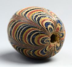 "Another view of this beautiful ancient Indonesian ""Pelangi"" bead.  From the Lindstrom estate."